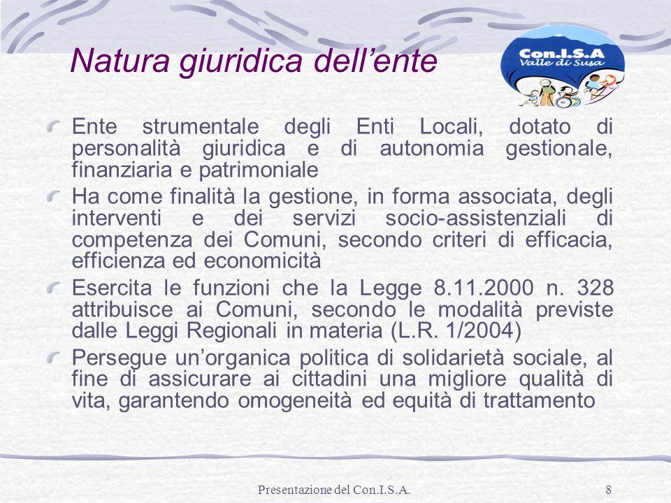 Presentazione del Con.I.S.A.8 Natura giuridica dellente Ente strumentale degli Enti Locali, dotato di personalità giuridica e di autonomia gestionale,