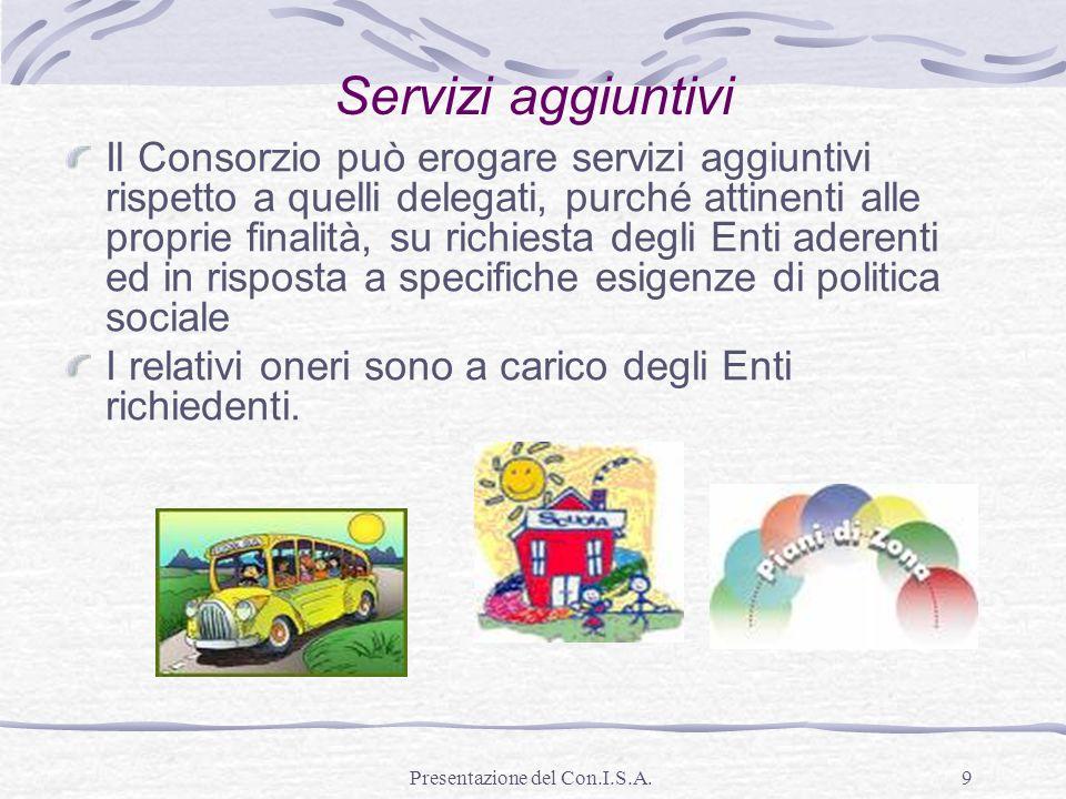 Presentazione del Con.I.S.A.9 Servizi aggiuntivi Il Consorzio può erogare servizi aggiuntivi rispetto a quelli delegati, purché attinenti alle proprie