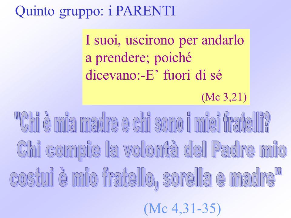 Quinto gruppo: i PARENTI I suoi, uscirono per andarlo a prendere; poiché dicevano:-E fuori di sé (Mc 3,21) (Mc 4,31-35)