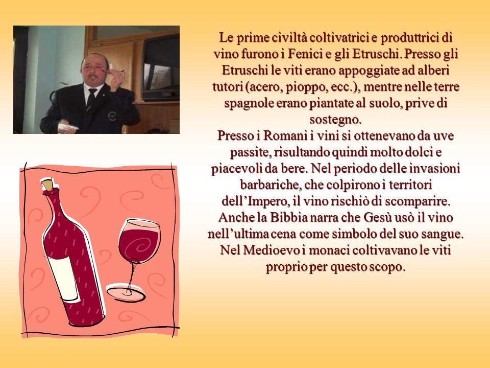 Le prime civiltà coltivatrici e produttrici di vino furono i Fenici e gli Etruschi.