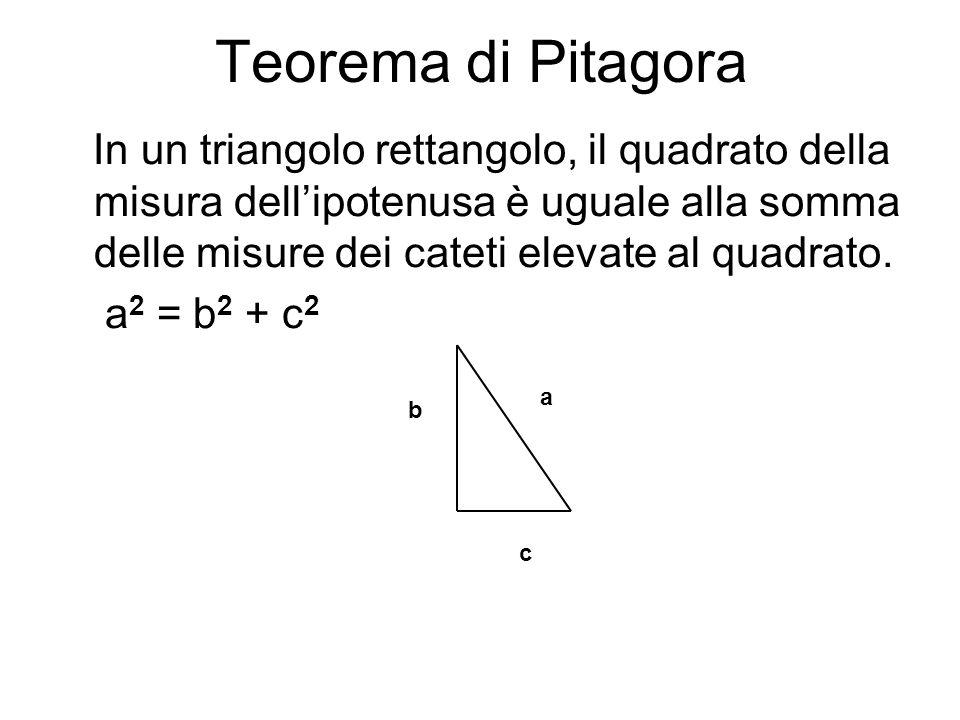 Teorema di Pitagora In un triangolo rettangolo, il quadrato della misura dellipotenusa è uguale alla somma delle misure dei cateti elevate al quadrato