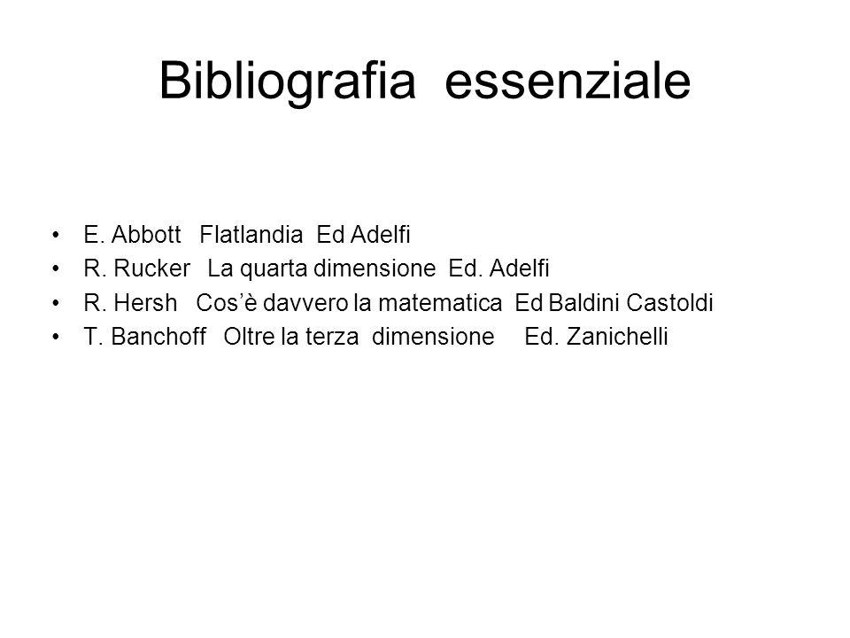 Bibliografia essenziale E. Abbott Flatlandia Ed Adelfi R. Rucker La quarta dimensione Ed. Adelfi R. Hersh Cosè davvero la matematica Ed Baldini Castol
