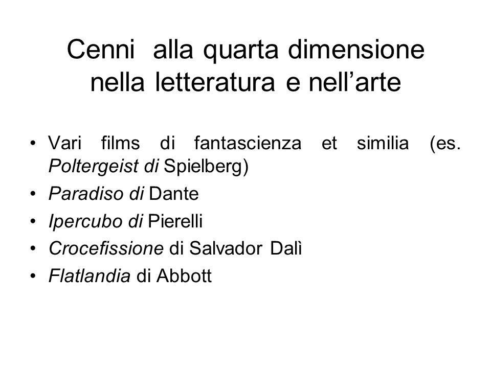 Cenni alla quarta dimensione nella letteratura e nellarte Vari films di fantascienza et similia (es. Poltergeist di Spielberg) Paradiso di Dante Iperc