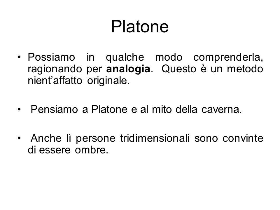 Platone Possiamo in qualche modo comprenderla, ragionando per analogia. Questo è un metodo nientaffatto originale. Pensiamo a Platone e al mito della