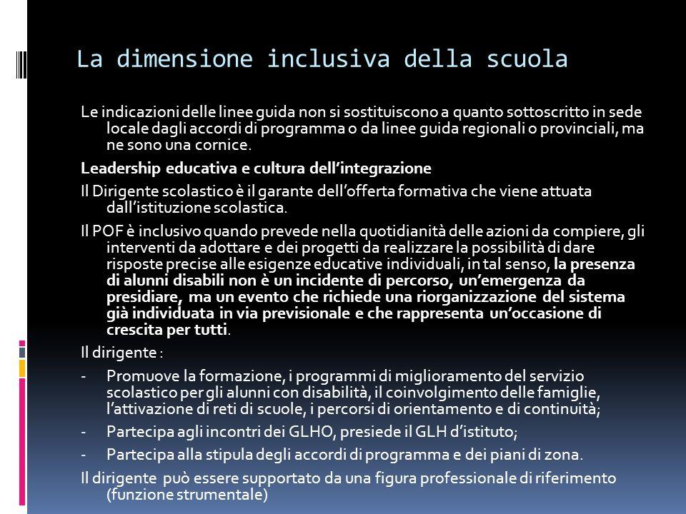 La dimensione inclusiva della scuola Le indicazioni delle linee guida non si sostituiscono a quanto sottoscritto in sede locale dagli accordi di progr