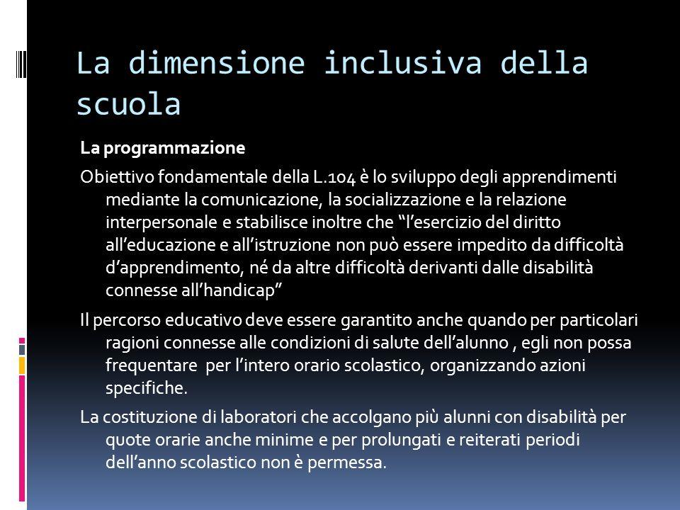 La dimensione inclusiva della scuola La programmazione Obiettivo fondamentale della L.104 è lo sviluppo degli apprendimenti mediante la comunicazione,
