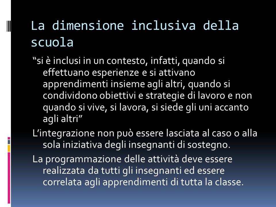 La dimensione inclusiva della scuola si è inclusi in un contesto, infatti, quando si effettuano esperienze e si attivano apprendimenti insieme agli al