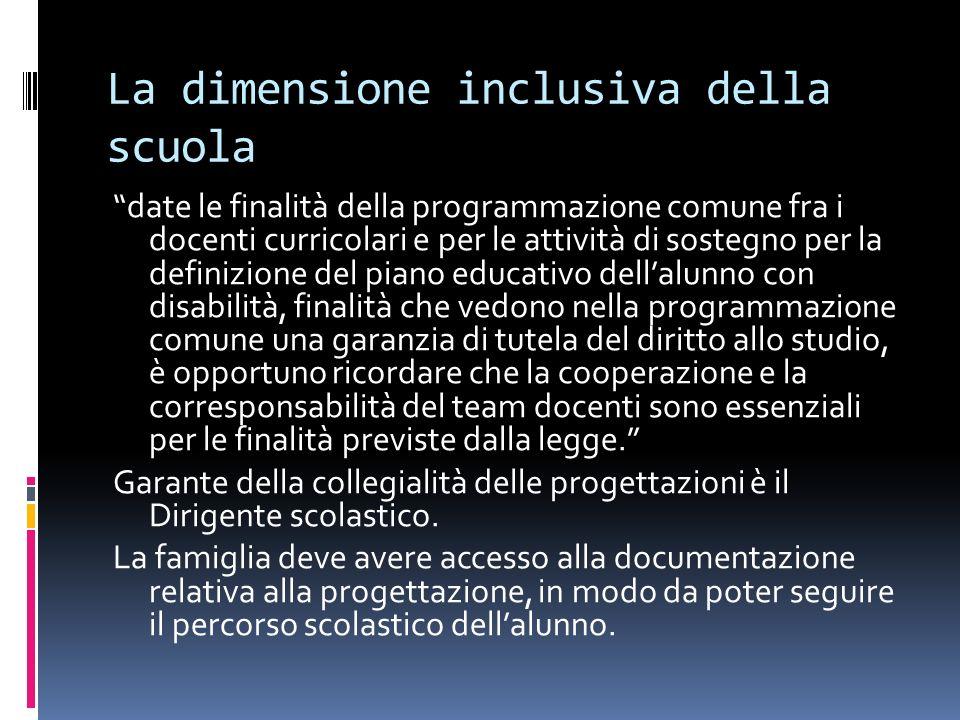 La dimensione inclusiva della scuola date le finalità della programmazione comune fra i docenti curricolari e per le attività di sostegno per la defin