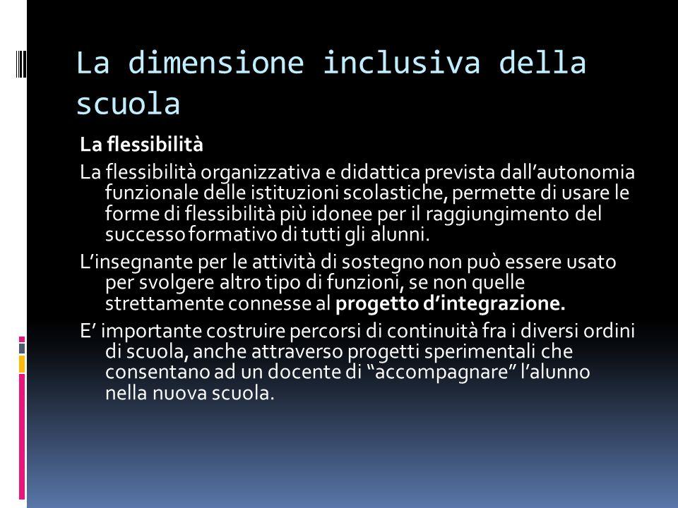 La dimensione inclusiva della scuola La flessibilità La flessibilità organizzativa e didattica prevista dallautonomia funzionale delle istituzioni sco