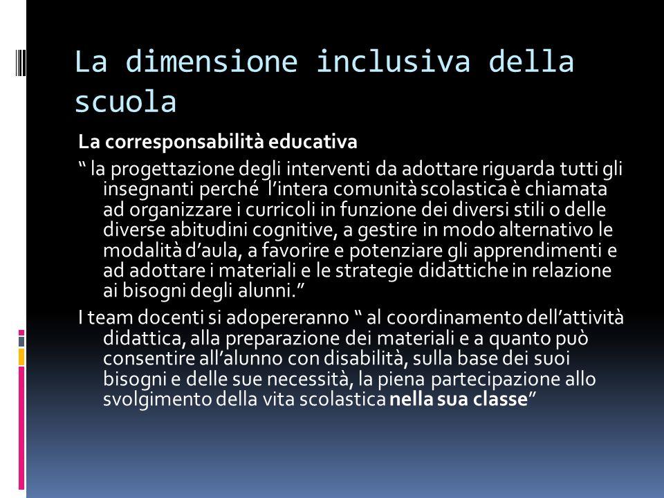 La dimensione inclusiva della scuola La corresponsabilità educativa la progettazione degli interventi da adottare riguarda tutti gli insegnanti perché