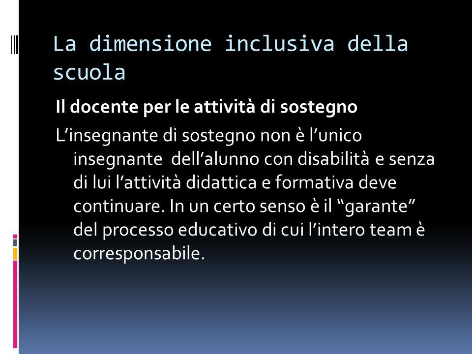 La dimensione inclusiva della scuola Il docente per le attività di sostegno Linsegnante di sostegno non è lunico insegnante dellalunno con disabilità