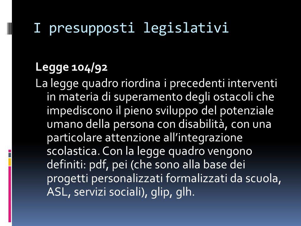 I presupposti legislativi Legge 104/92 La legge quadro riordina i precedenti interventi in materia di superamento degli ostacoli che impediscono il pi