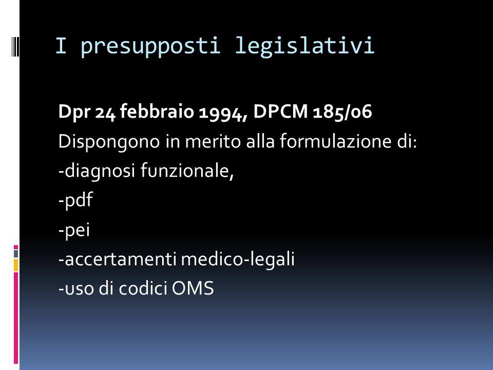 I presupposti legislativi Dpr 24 febbraio 1994, DPCM 185/06 Dispongono in merito alla formulazione di: -diagnosi funzionale, -pdf -pei -accertamenti m