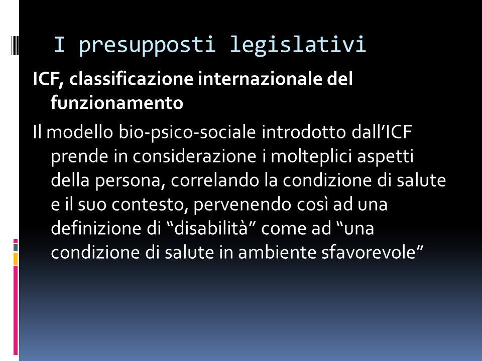 I presupposti legislativi ICF, classificazione internazionale del funzionamento Il modello bio-psico-sociale introdotto dallICF prende in considerazio