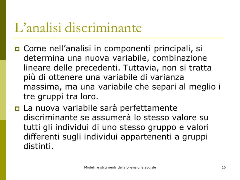 Modelli e strumenti della previsione sociale16 Lanalisi discriminante Come nellanalisi in componenti principali, si determina una nuova variabile, com