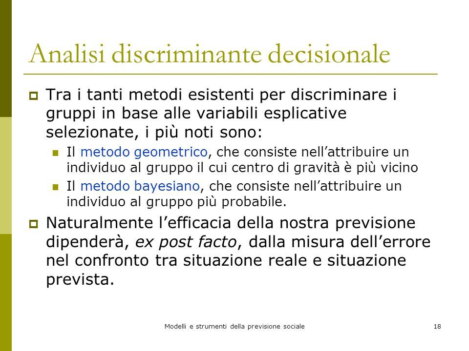 Modelli e strumenti della previsione sociale18 Analisi discriminante decisionale Tra i tanti metodi esistenti per discriminare i gruppi in base alle v