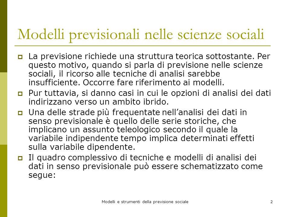 Modelli e strumenti della previsione sociale2 Modelli previsionali nelle scienze sociali La previsione richiede una struttura teorica sottostante. Per