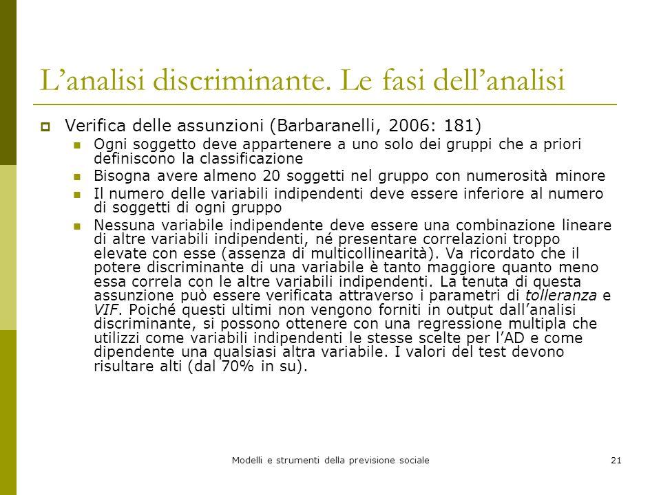 Modelli e strumenti della previsione sociale21 Lanalisi discriminante. Le fasi dellanalisi Verifica delle assunzioni (Barbaranelli, 2006: 181) Ogni so