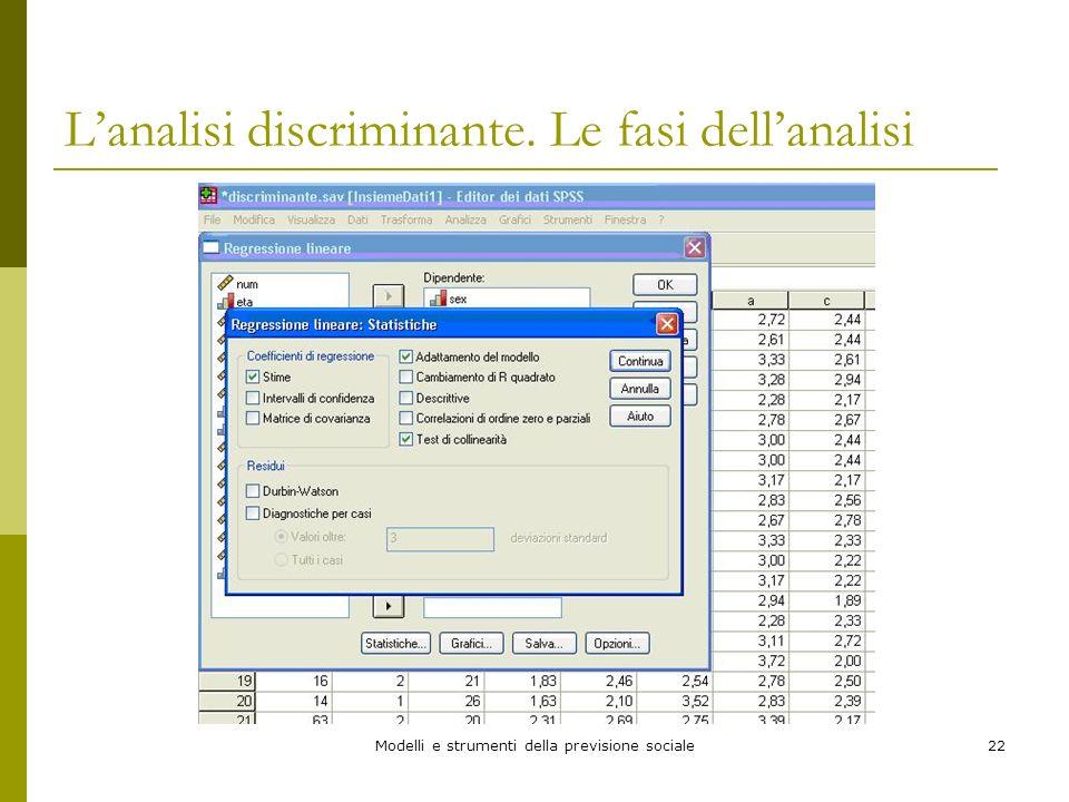 Modelli e strumenti della previsione sociale22 Lanalisi discriminante. Le fasi dellanalisi