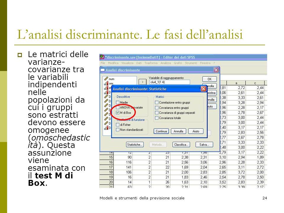 Modelli e strumenti della previsione sociale24 Lanalisi discriminante. Le fasi dellanalisi Le matrici delle varianze- covarianze tra le variabili indi