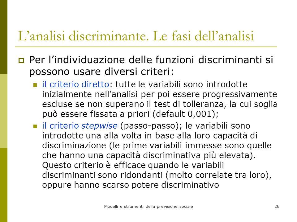 Modelli e strumenti della previsione sociale26 Lanalisi discriminante. Le fasi dellanalisi Per lindividuazione delle funzioni discriminanti si possono