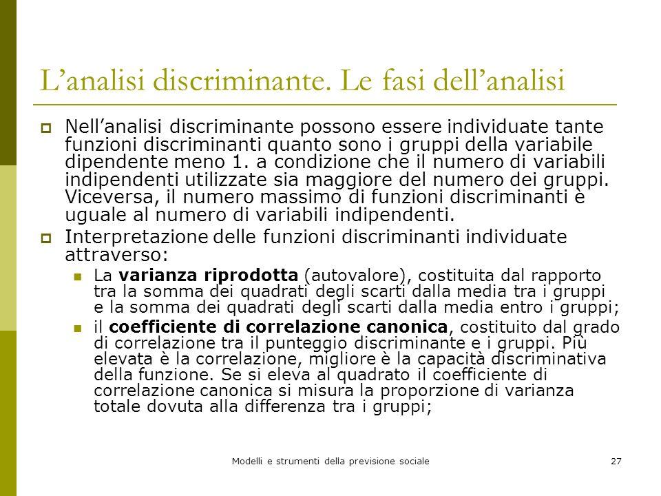 Modelli e strumenti della previsione sociale27 Lanalisi discriminante. Le fasi dellanalisi Nellanalisi discriminante possono essere individuate tante