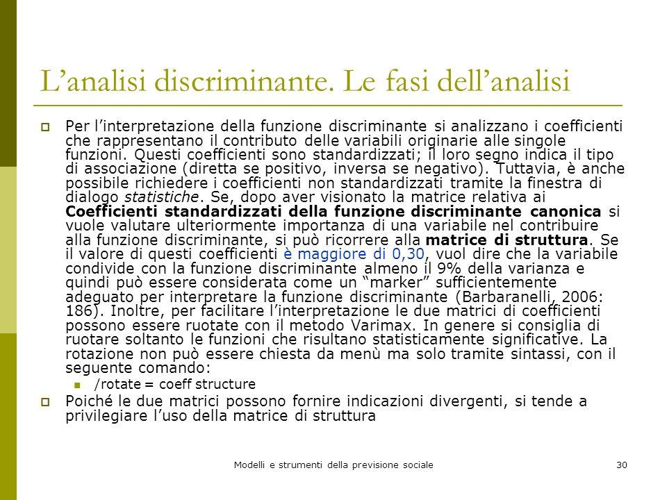Modelli e strumenti della previsione sociale30 Lanalisi discriminante. Le fasi dellanalisi Per linterpretazione della funzione discriminante si analiz