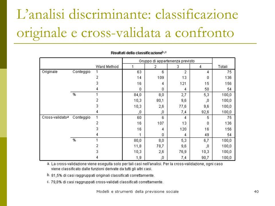 Modelli e strumenti della previsione sociale40 Lanalisi discriminante: classificazione originale e cross-validata a confronto