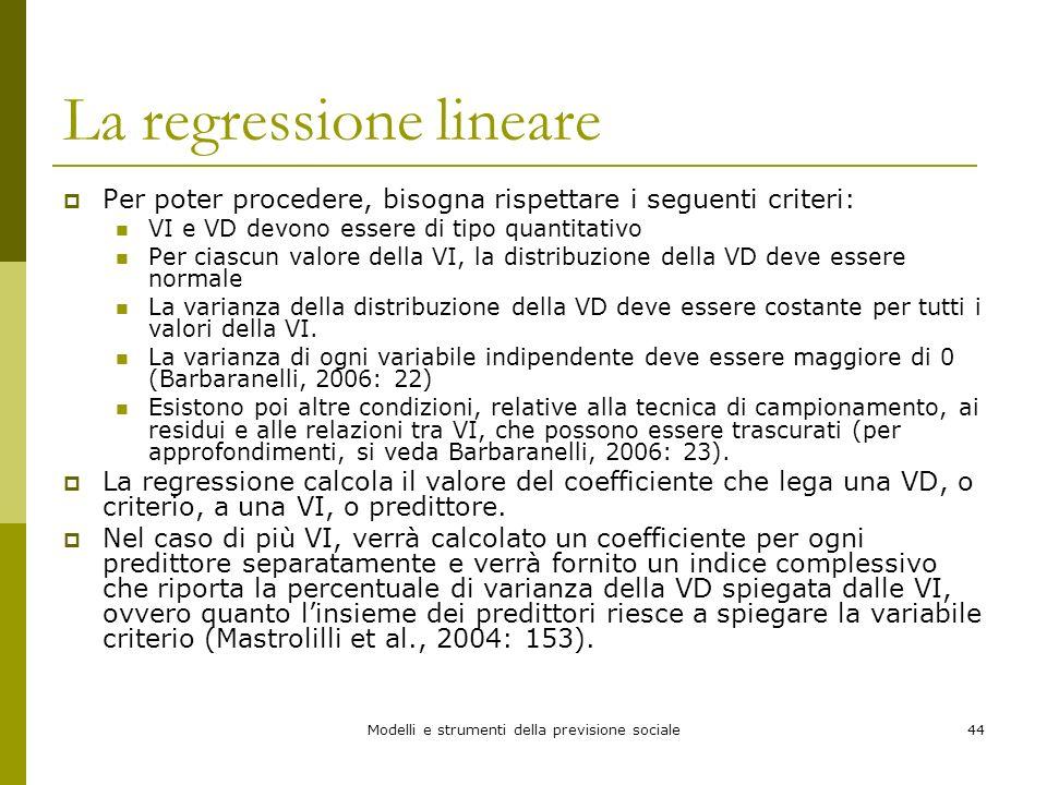 Modelli e strumenti della previsione sociale44 La regressione lineare Per poter procedere, bisogna rispettare i seguenti criteri: VI e VD devono esser