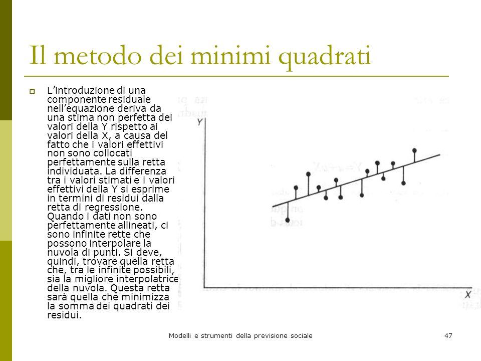 Modelli e strumenti della previsione sociale47 Il metodo dei minimi quadrati Lintroduzione di una componente residuale nellequazione deriva da una sti