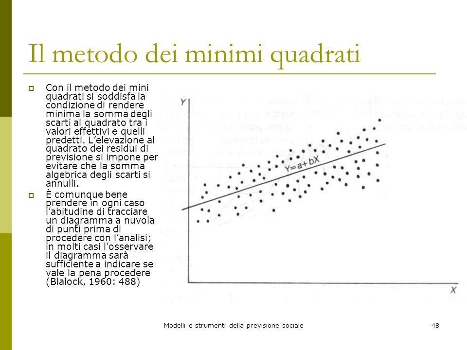 Modelli e strumenti della previsione sociale48 Il metodo dei minimi quadrati Con il metodo dei mini quadrati si soddisfa la condizione di rendere mini