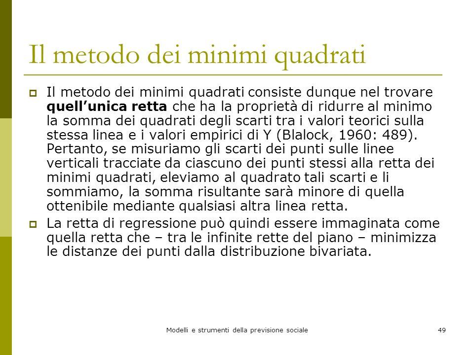 Modelli e strumenti della previsione sociale49 Il metodo dei minimi quadrati Il metodo dei minimi quadrati consiste dunque nel trovare quellunica rett