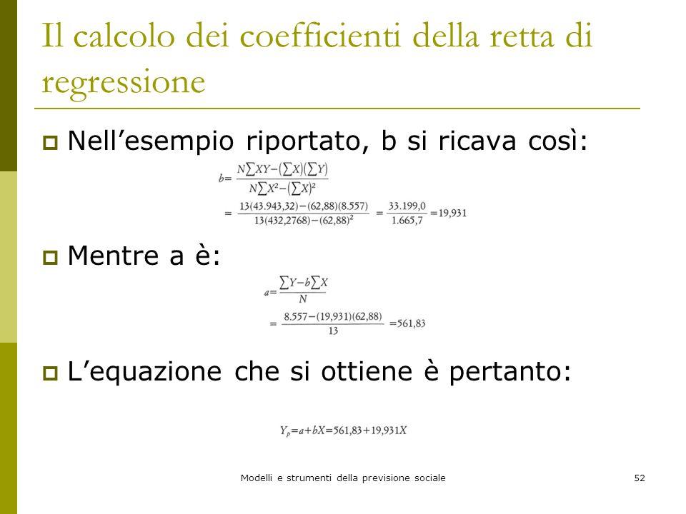 Modelli e strumenti della previsione sociale52 Il calcolo dei coefficienti della retta di regressione Nellesempio riportato, b si ricava così: Mentre