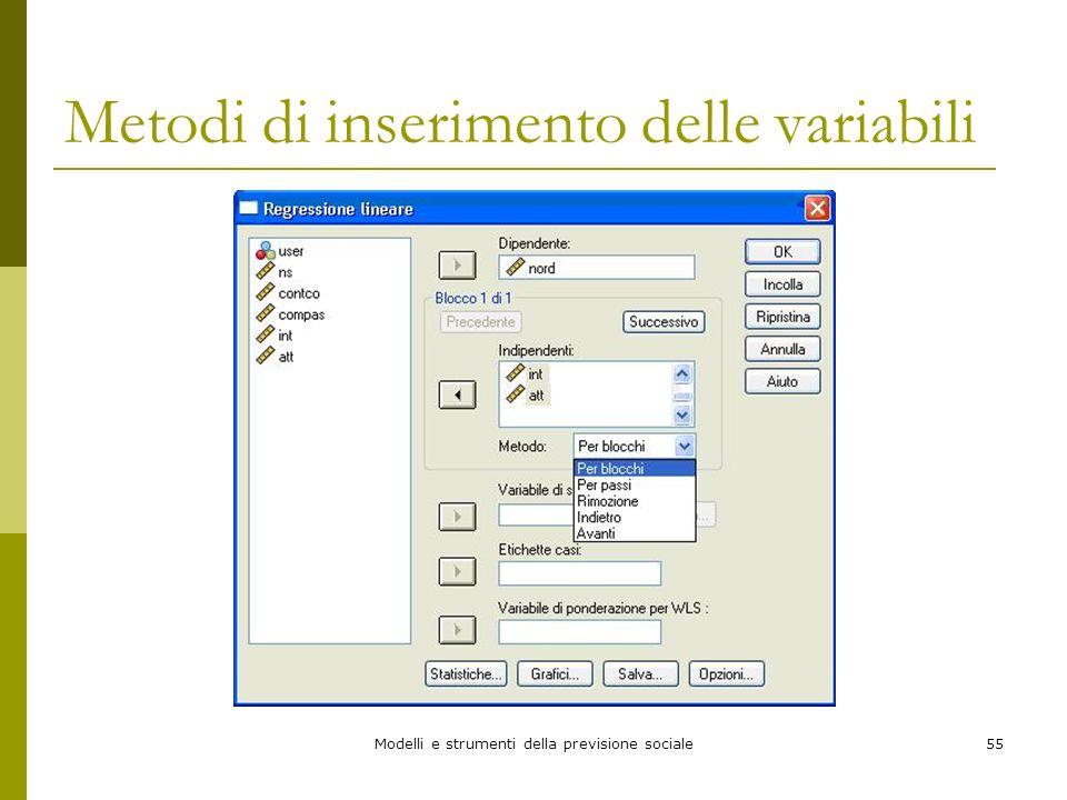 Modelli e strumenti della previsione sociale55 Metodi di inserimento delle variabili