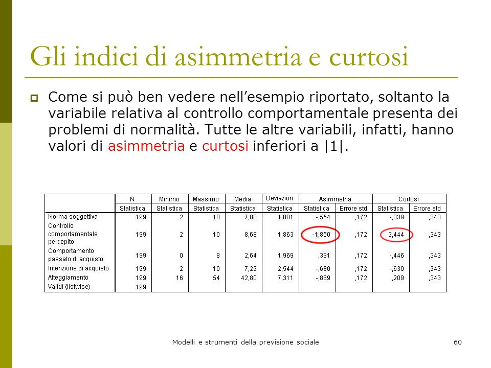 Modelli e strumenti della previsione sociale60 Gli indici di asimmetria e curtosi Come si può ben vedere nellesempio riportato, soltanto la variabile