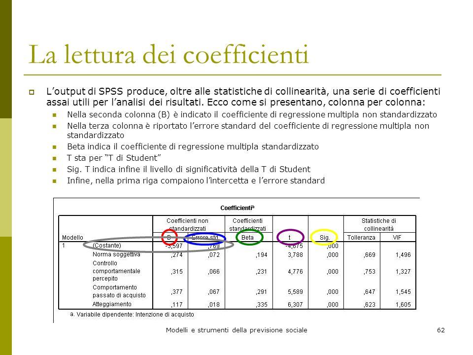 Modelli e strumenti della previsione sociale62 La lettura dei coefficienti Loutput di SPSS produce, oltre alle statistiche di collinearità, una serie