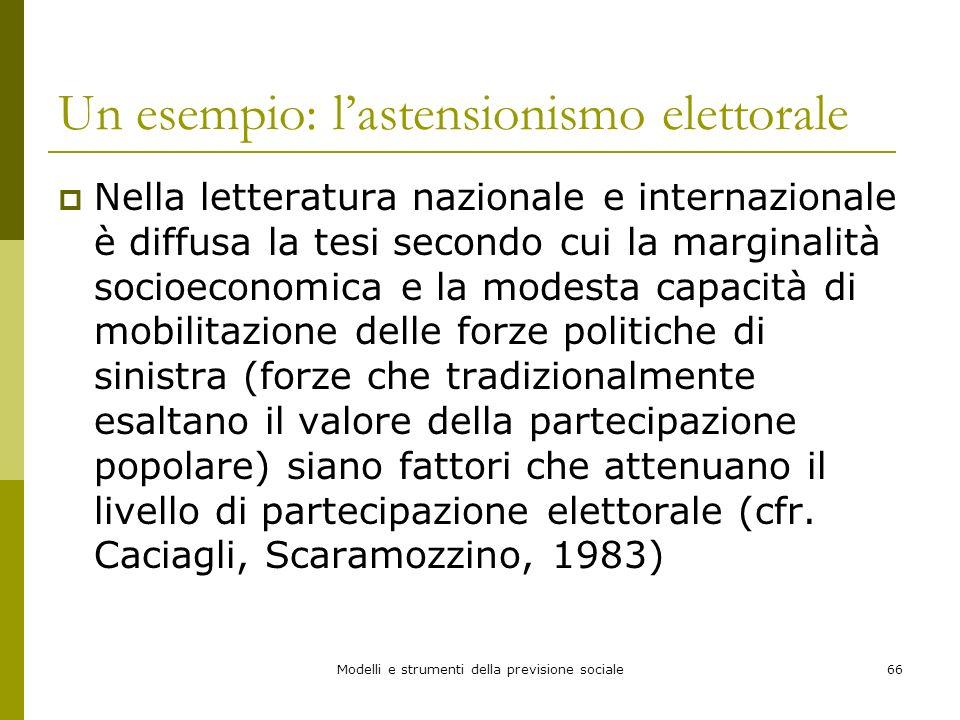 Modelli e strumenti della previsione sociale66 Un esempio: lastensionismo elettorale Nella letteratura nazionale e internazionale è diffusa la tesi se