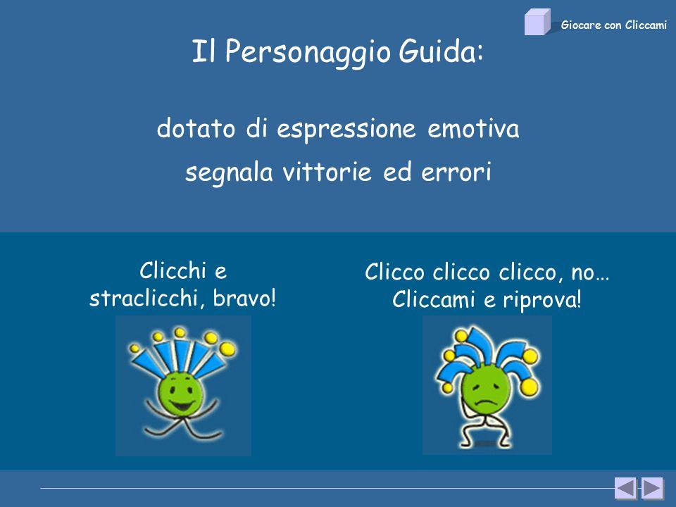 Il Personaggio Guida: dotato di espressione emotiva segnala vittorie ed errori Clicchi e straclicchi, bravo.