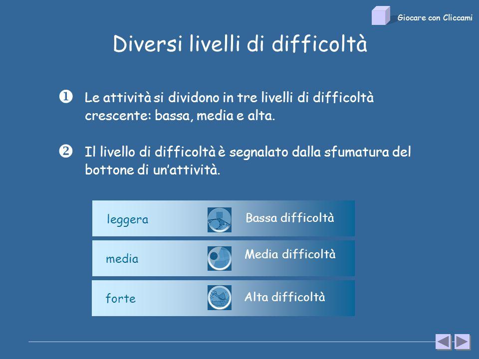 Diversi livelli di difficoltà Il livello di difficoltà è segnalato dalla sfumatura del bottone di unattività.