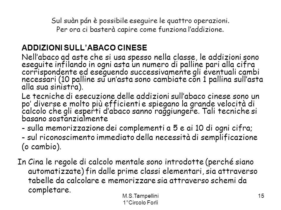 M.S.Tampellini 1°Circolo Forlì 15 ADDIZIONI SULLABACO CINESE Nellabaco ad aste che si usa spesso nella classe, le addizioni sono eseguite infilando in