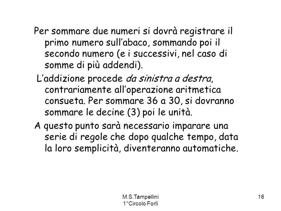 M.S.Tampellini 1°Circolo Forlì 16 Per sommare due numeri si dovrà registrare il primo numero sullabaco, sommando poi il secondo numero (e i successivi