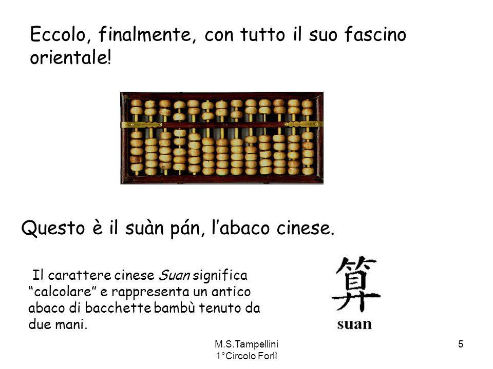 M.S.Tampellini 1°Circolo Forlì 5 Eccolo, finalmente, con tutto il suo fascino orientale! Questo è il suàn pán, labaco cinese. Il carattere cinese Suan