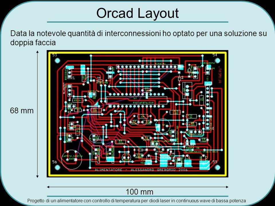 Progetto di un alimentatore con controllo di temperatura per diodi laser in continuous wave di bassa potenza Orcad Layout Data la notevole quantità di
