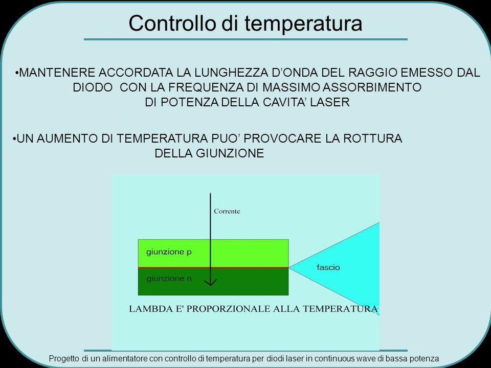 Progetto di un alimentatore con controllo di temperatura per diodi laser in continuous wave di bassa potenza Controllo di temperatura MANTENERE ACCORD