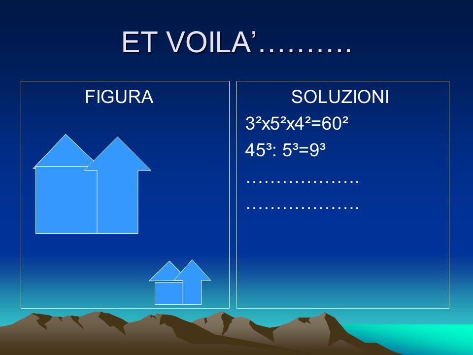 ET VOILA………. FIGURA SOLUZIONI 3²x5²x4²=60² 45³: 5³=9³ ……………….