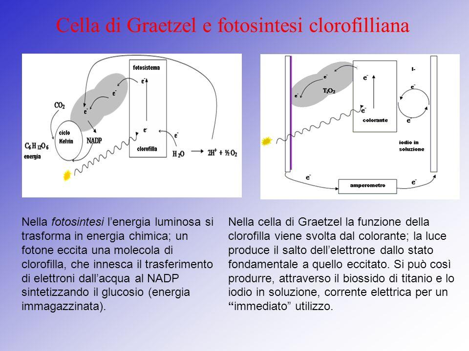 I componenti della cella Soluzione elettrolitica Materiale attivo (colorante) Si lega facilmente con il biossido di TitanioTiO 2, è fotosensibile, cioè ossidandosi cede elettroni; A base di iodio e ioduro di potassio; Fa da mediatore ricevendo elettroni dal contro-elettrodo e cedendoli al TiO 2 attraverso il colorante Biossido di titanio Vetrini conduttori Controelettrodo E di carbonio o grafite, ripristina il ciclo della cella cedendo elettroni Lasciano passare la luce e permettono il contatto elettrico con il circuito esterno Essendo nanostrutturato rende maggiore la superficie di presa del colorante Funge da accettore di elettroni