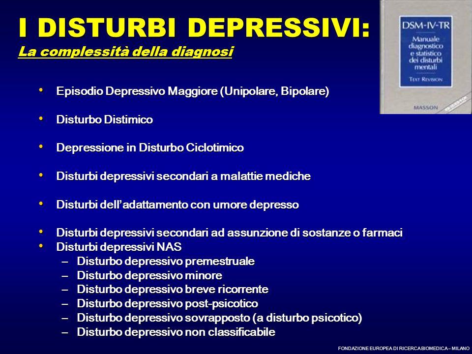 FONDAZIONE EUROPEA DI RICERCA BIOMEDICA – MILANO Episodio Depressivo Maggiore (Unipolare, Bipolare) Episodio Depressivo Maggiore (Unipolare, Bipolare)