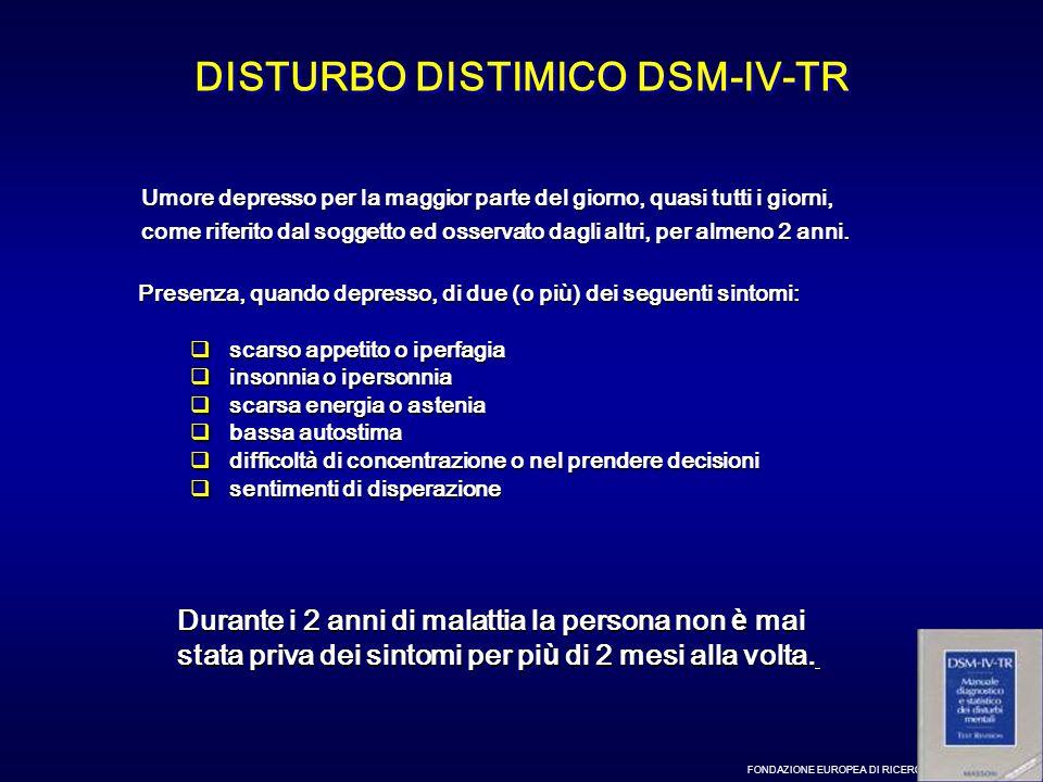 FONDAZIONE EUROPEA DI RICERCA BIOMEDICA – MILANO DISTURBO DISTIMICO DSM-IV-TR Presenza, quando depresso, di due (o pi ù ) dei seguenti sintomi: scarso