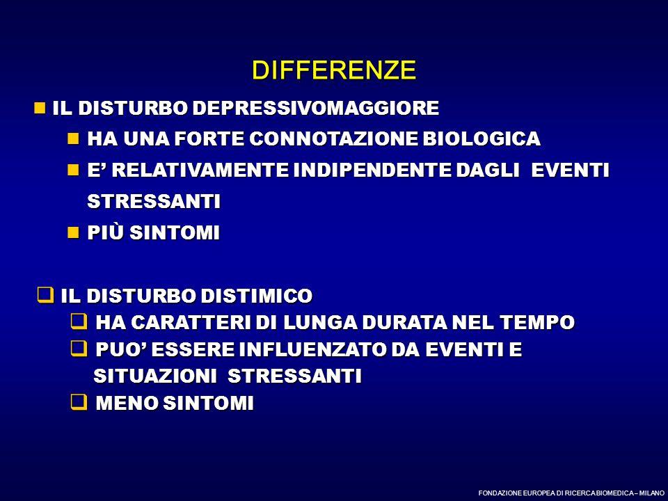 FONDAZIONE EUROPEA DI RICERCA BIOMEDICA – MILANO IL DISTURBO DEPRESSIVOMAGGIORE IL DISTURBO DEPRESSIVOMAGGIORE HA UNA FORTE CONNOTAZIONE BIOLOGICA HA