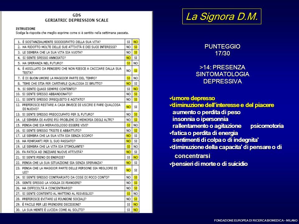 FONDAZIONE EUROPEA DI RICERCA BIOMEDICA – MILANO PUNTEGGIO17/30 >14: PRESENZA SINTOMATOLOGIADEPRESSIVA La Signora D.M. umore depresso umore depresso d